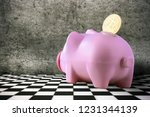 bitcoin in a piggy bank on a... | Shutterstock . vector #1231344139