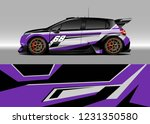 hatchback racing car wrap... | Shutterstock .eps vector #1231350580