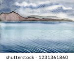 Isle of Skye rainy landscape with hills and water waves, Scotland, England. Watercolor hand drawn landscape. Touristic view for cards, booklets and other design.