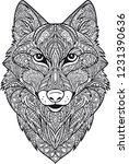 coloring. wolf's head | Shutterstock .eps vector #1231390636