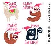 set of funny cat  sloth  llama...   Shutterstock .eps vector #1231402696