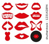 feminine mouth  lips set. | Shutterstock .eps vector #123142894