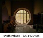Dark Room Illuminated By Yellow ...