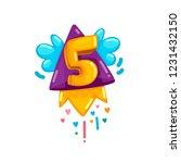 cartoon kids rocket fly five...   Shutterstock .eps vector #1231432150