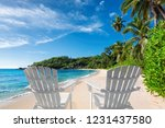 beach chairs on beautiful sandy ... | Shutterstock . vector #1231437580
