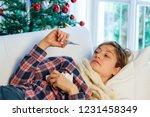 sick woman portrait during... | Shutterstock . vector #1231458349