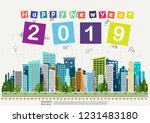label  text happy new year 2019 ... | Shutterstock .eps vector #1231483180
