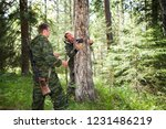 foresters install photo traps...   Shutterstock . vector #1231486219