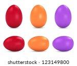 easter colorful eggs vector set | Shutterstock .eps vector #123149800