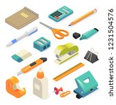 isometric office tools and... | Shutterstock .eps vector #1231504576