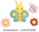 a vector of a cute and adorable ... | Shutterstock .eps vector #1231523200