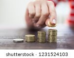 female hand stack coins to...   Shutterstock . vector #1231524103