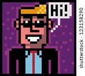 pixel man with sunglasses saluting - stock vector