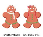 holiday gingerbread man and... | Shutterstock .eps vector #1231589143