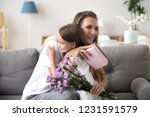 grateful loving young mom...   Shutterstock . vector #1231591579