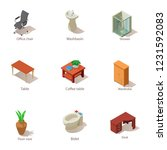 furnished apartment icons set.... | Shutterstock .eps vector #1231592083