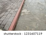 sidewalk of an urban street ... | Shutterstock . vector #1231607119