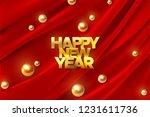 happy new year. golden new year ... | Shutterstock .eps vector #1231611736