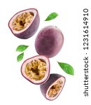 Flying Passion Fruits Isolated...