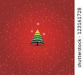 card with cristmas tree. ... | Shutterstock .eps vector #123161728