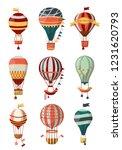 hot air balloon retro icons...   Shutterstock .eps vector #1231620793
