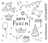 hand drawn set of purim... | Shutterstock .eps vector #1231628539