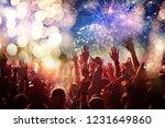 cheering crowd watching... | Shutterstock . vector #1231649860