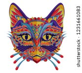 Stock vector stylized colorful cat portrait on white background 1231661083