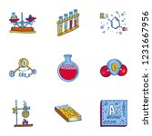 school chemistry icon set. hand ... | Shutterstock .eps vector #1231667956