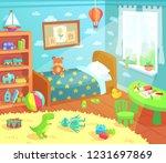 cartoon kids bedroom interior.... | Shutterstock . vector #1231697869