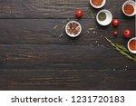 spices assortment on black... | Shutterstock . vector #1231720183