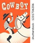 cowboy riding wild horse.vector ... | Shutterstock .eps vector #1231736206