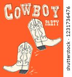 Cowboy Western Boot On Red...