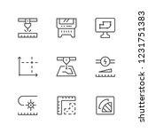set line icons of laser cutting ... | Shutterstock . vector #1231751383