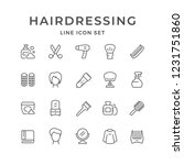 set line icons of hairdressing... | Shutterstock . vector #1231751860