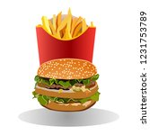fast food. hamburger and french ... | Shutterstock .eps vector #1231753789