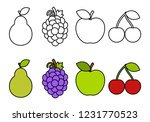coloring book with fruits ... | Shutterstock .eps vector #1231770523