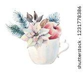 watercolor winter composition.... | Shutterstock . vector #1231778386