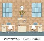 loft style office on brick... | Shutterstock .eps vector #1231789030