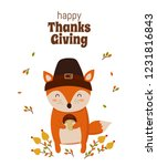 happy thanksgiving  greeting... | Shutterstock .eps vector #1231816843