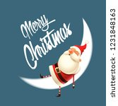 santa claus sleep on moon  ... | Shutterstock .eps vector #1231848163