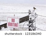 A Snow Covered No Hunting Sign...