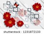 3d wallpaper  red gerbera daisy ... | Shutterstock . vector #1231872133