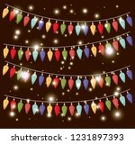 colors christmas lights hanging ... | Shutterstock .eps vector #1231897393