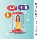 woman in smartphone with social ... | Shutterstock .eps vector #1231898680