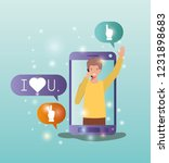 man in smartphone with social... | Shutterstock .eps vector #1231898683