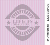life is beautiful pink emblem.... | Shutterstock .eps vector #1231920403