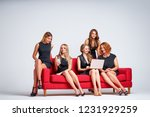 group of young pretty... | Shutterstock . vector #1231929259