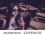 portrait of a cute hipster girl ...   Shutterstock . vector #1231936120