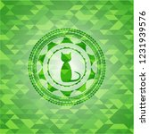 cat icon inside realistic green ... | Shutterstock .eps vector #1231939576